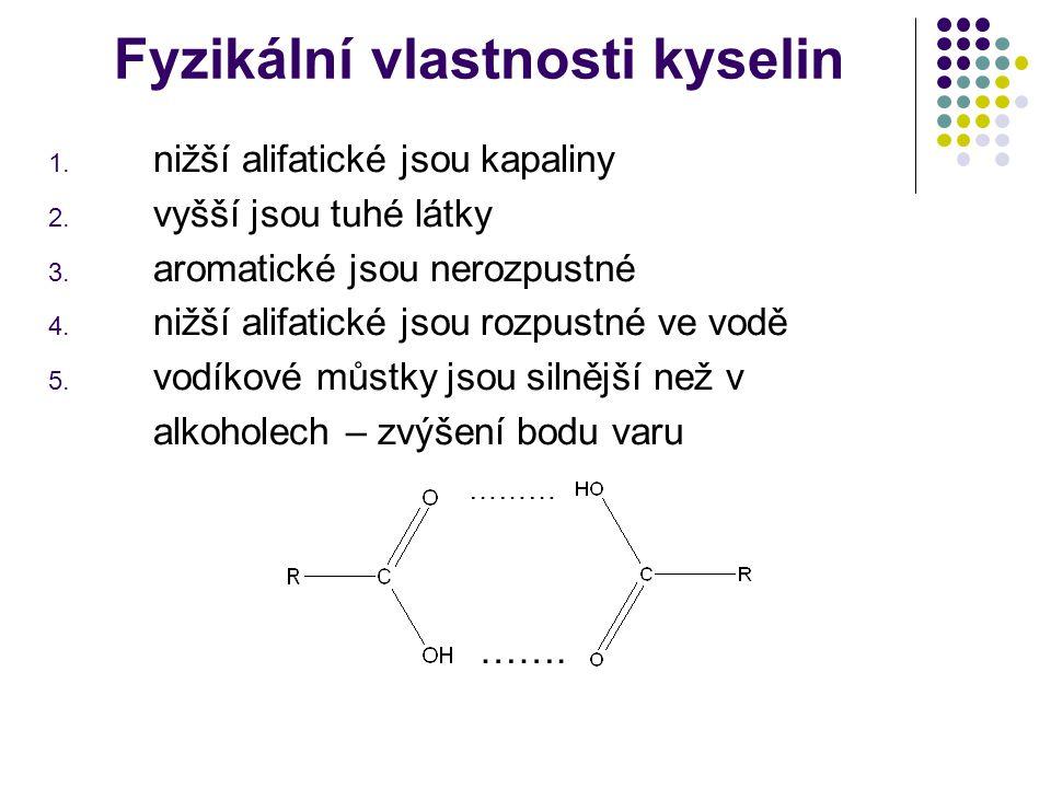 Fyzikální vlastnosti kyselin