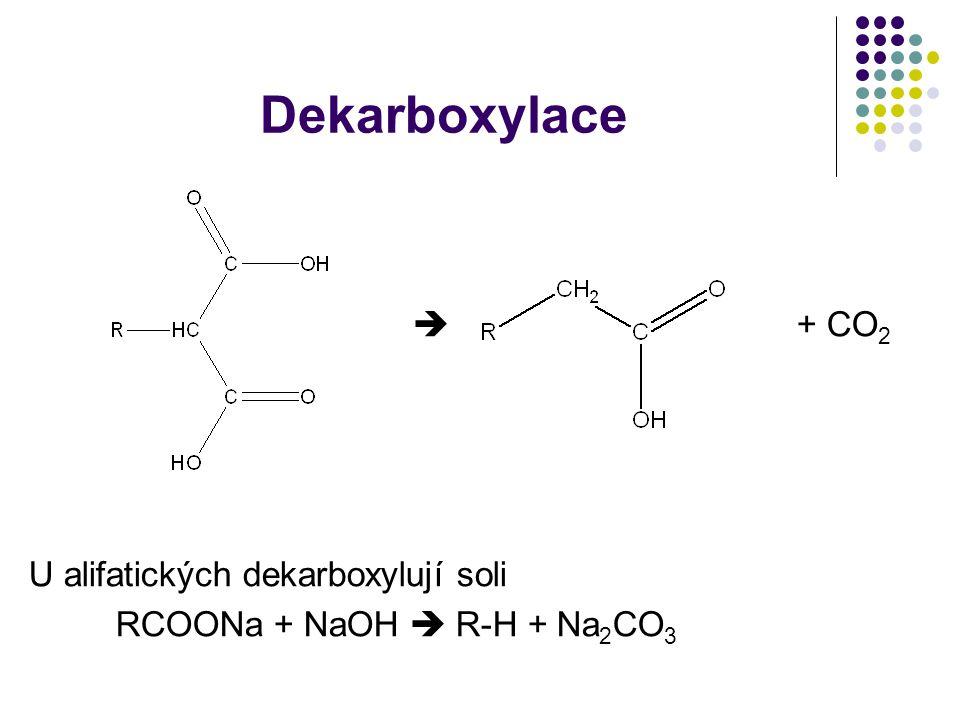 Dekarboxylace  + CO2 U alifatických dekarboxylují soli