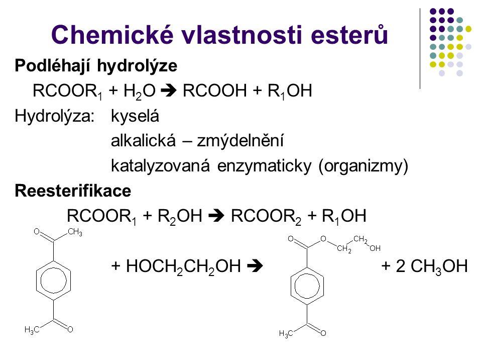 Chemické vlastnosti esterů
