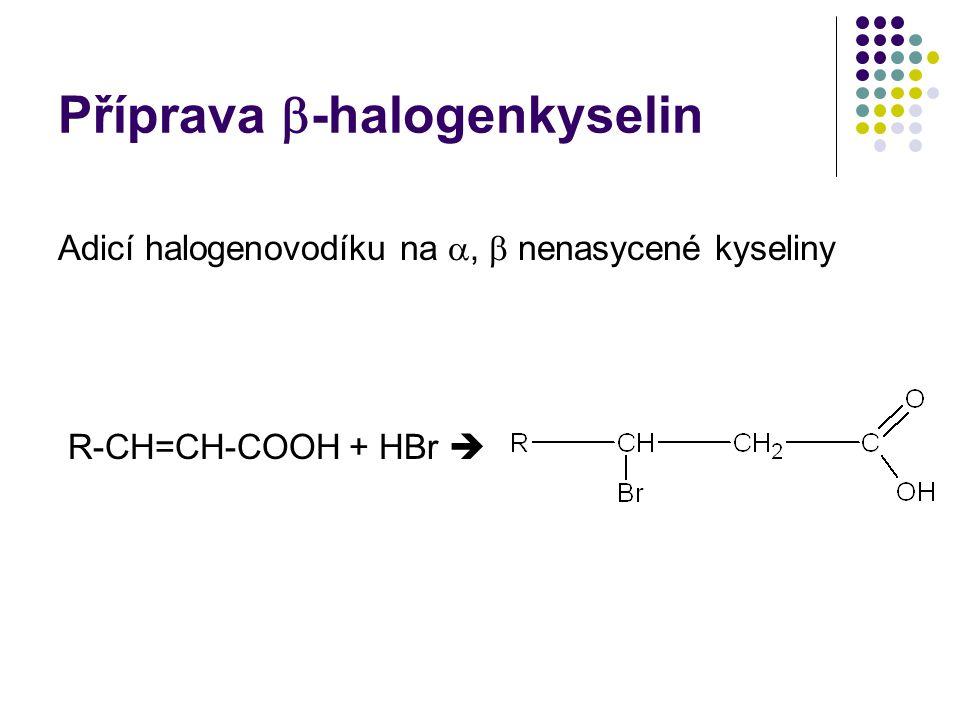 Příprava -halogenkyselin