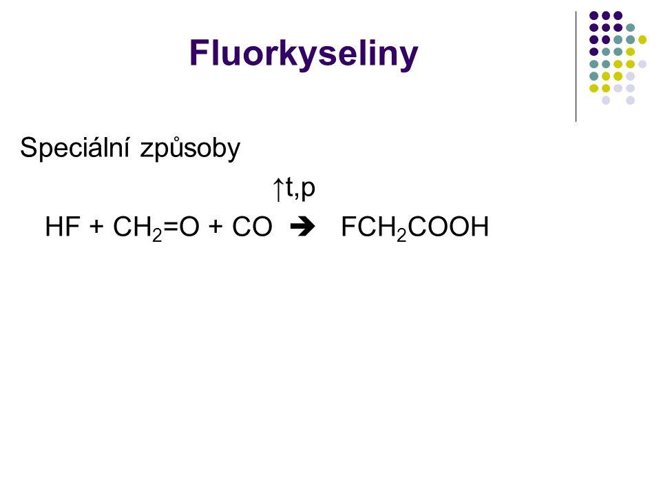 Fluorkyseliny Speciální způsoby ↑t,p HF + CH2=O + CO  FCH2COOH