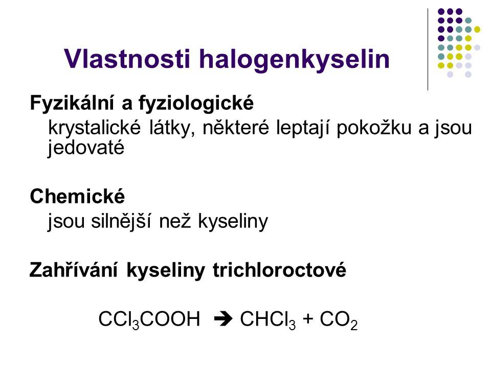Vlastnosti halogenkyselin
