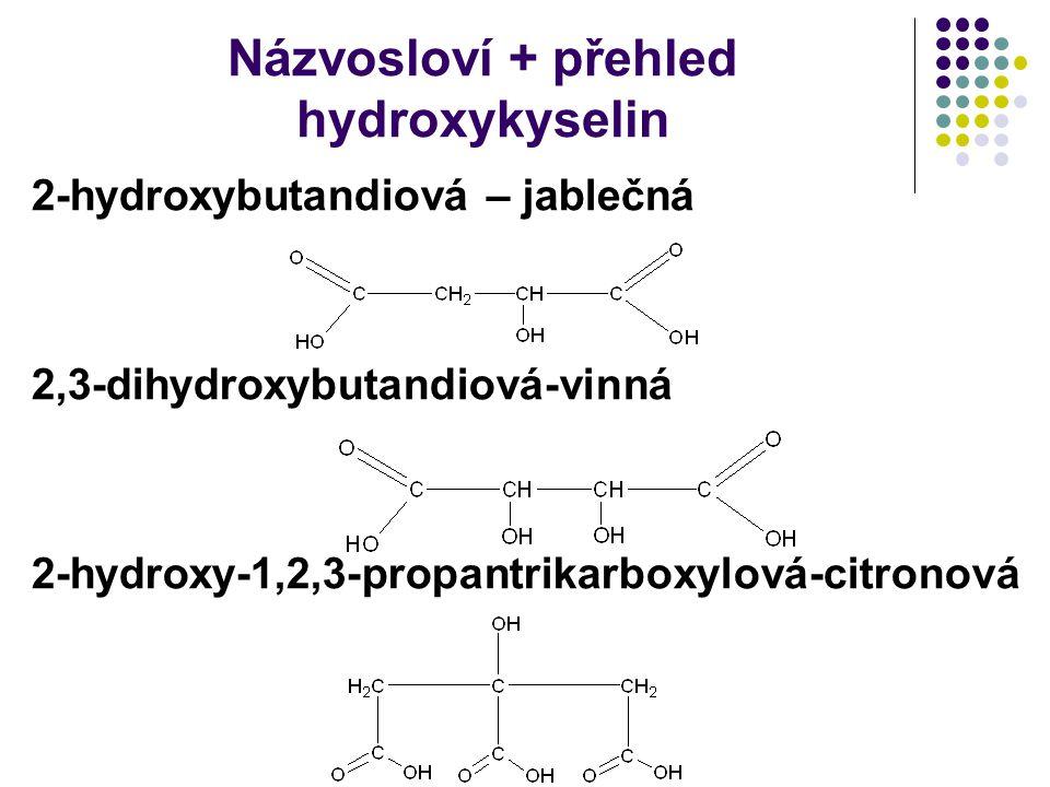 Názvosloví + přehled hydroxykyselin