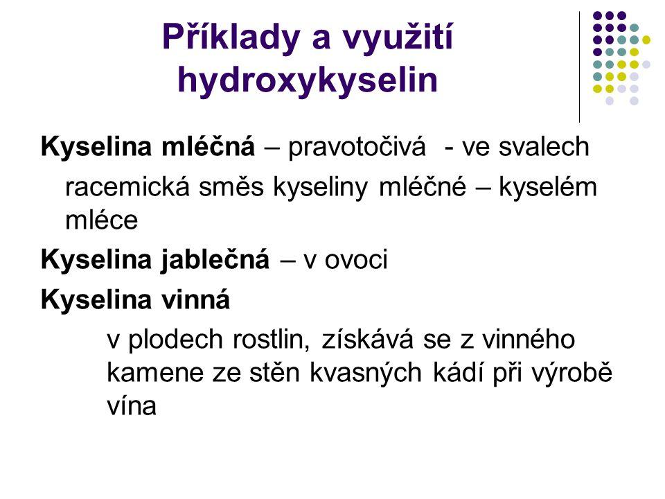 Příklady a využití hydroxykyselin