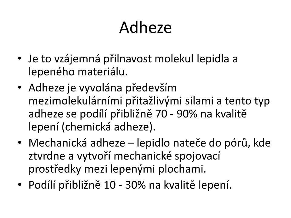 Adheze Je to vzájemná přilnavost molekul lepidla a lepeného materiálu.