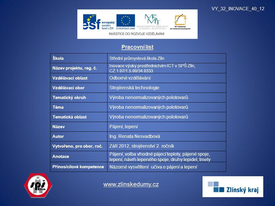 www.zlinskedumy.cz Pracovní list VY_32_INOVACE_40_12
