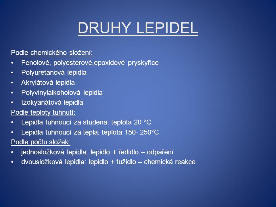 Druhy lepidel Podle chemického složení: