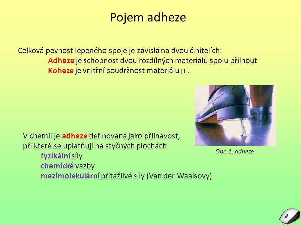 Pojem adheze Celková pevnost lepeného spoje je závislá na dvou činitelích: Adheze je schopnost dvou rozdílných materiálů spolu přilnout.