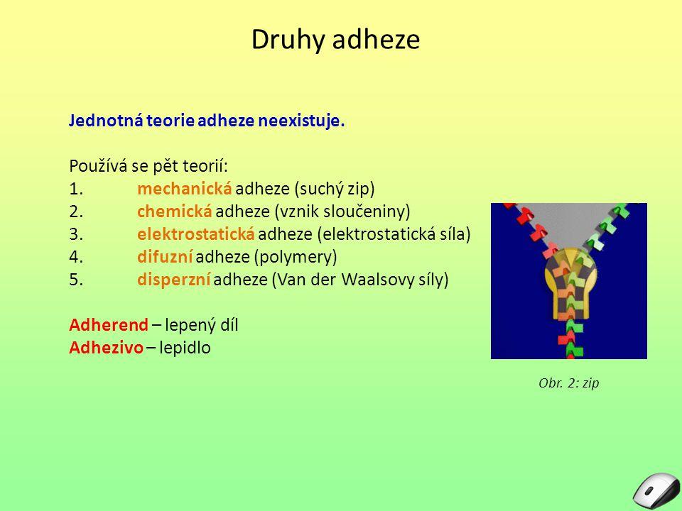 Druhy adheze Jednotná teorie adheze neexistuje. Používá se pět teorií: