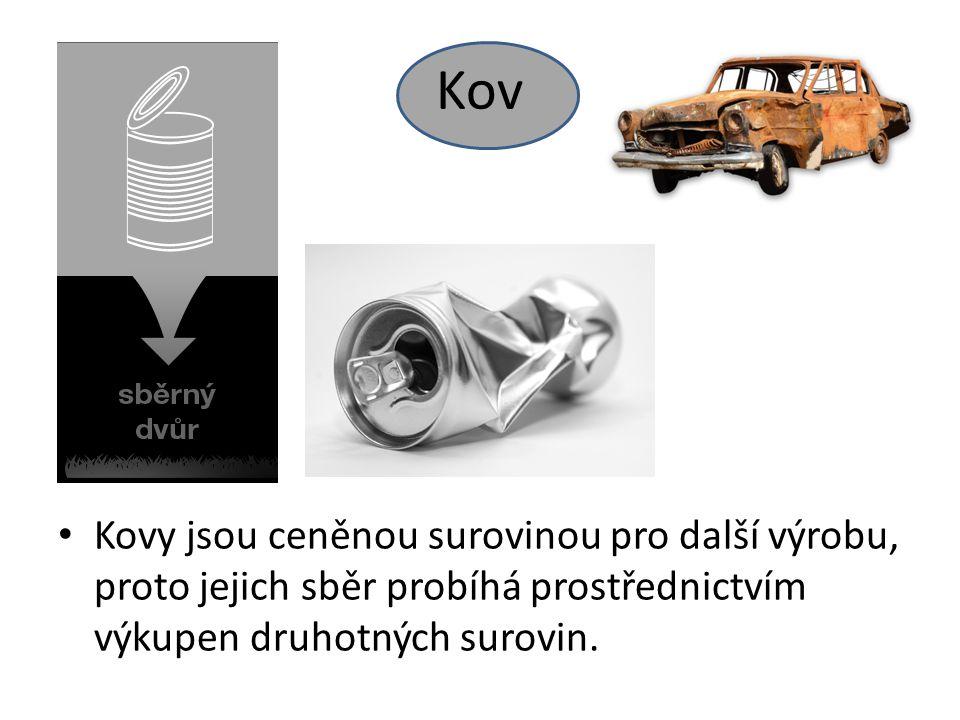 Kov Kovy jsou ceněnou surovinou pro další výrobu, proto jejich sběr probíhá prostřednictvím výkupen druhotných surovin.