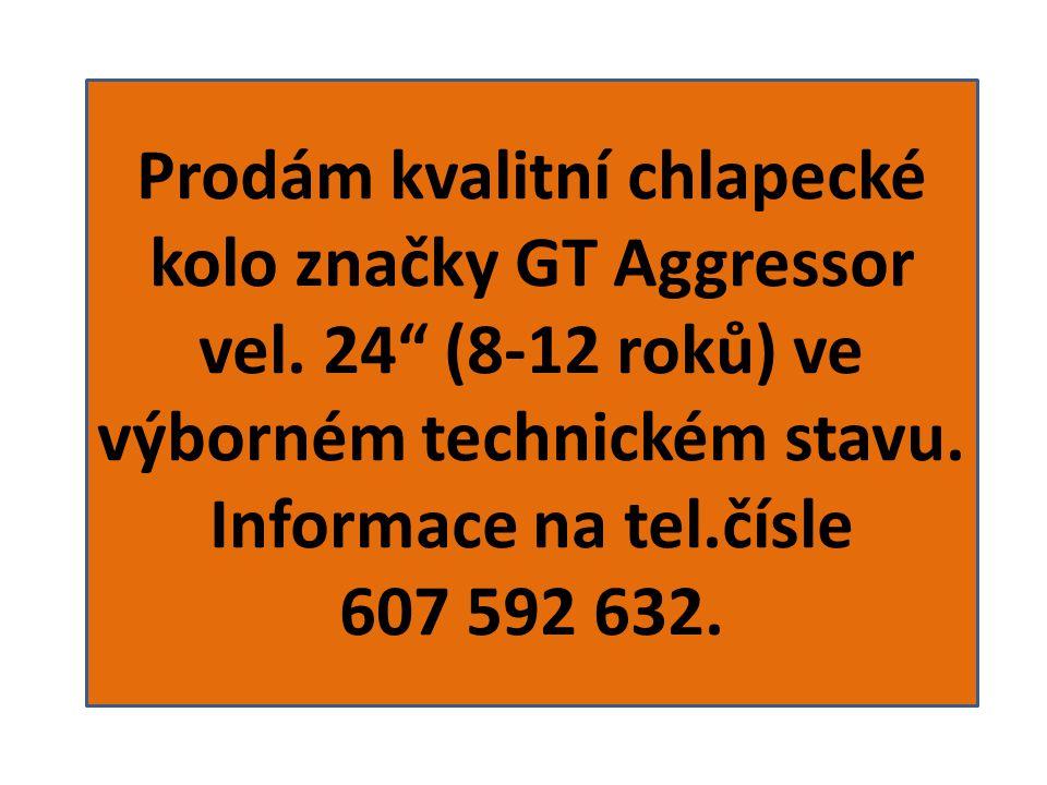 Prodám kvalitní chlapecké kolo značky GT Aggressor vel