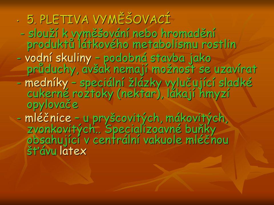 5. PLETIVA VYMĚŠOVACÍ - slouží k vyměšování nebo hromadění produktů látkového metabolismu rostlin.