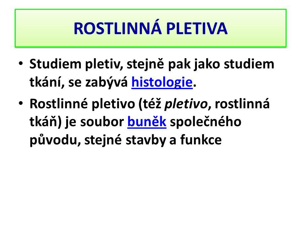 ROSTLINNÁ PLETIVA Studiem pletiv, stejně pak jako studiem tkání, se zabývá histologie.