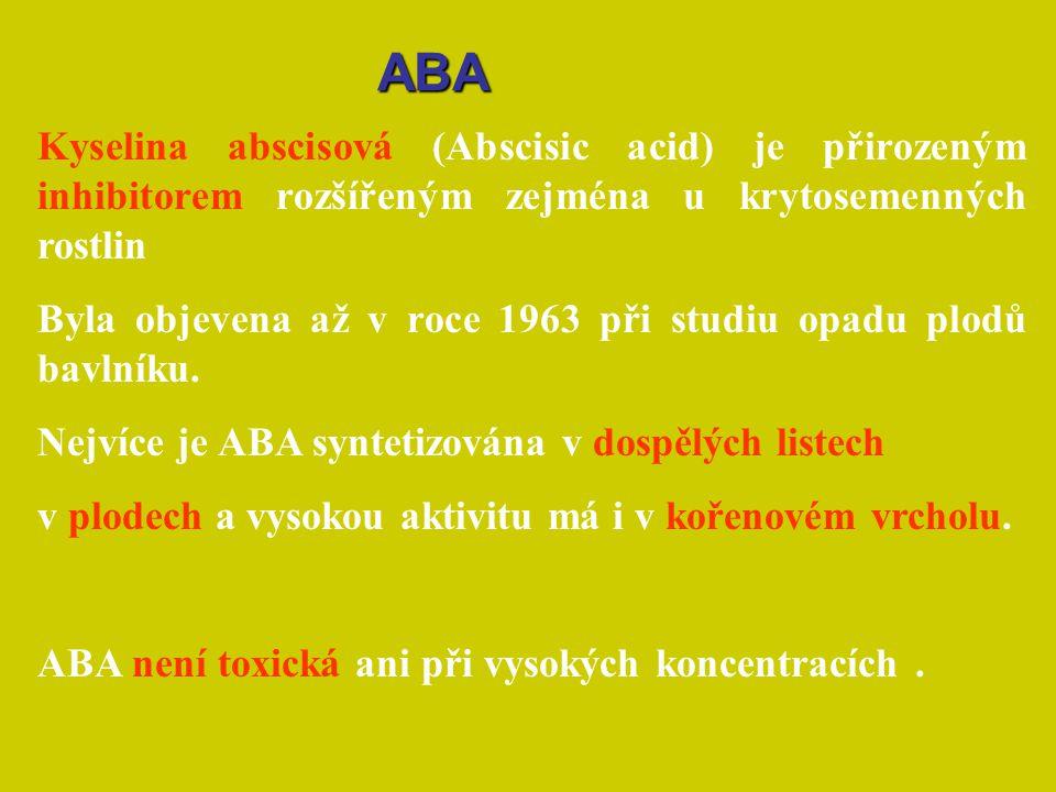 ABA Kyselina abscisová (Abscisic acid) je přirozeným inhibitorem rozšířeným zejména u krytosemenných rostlin.