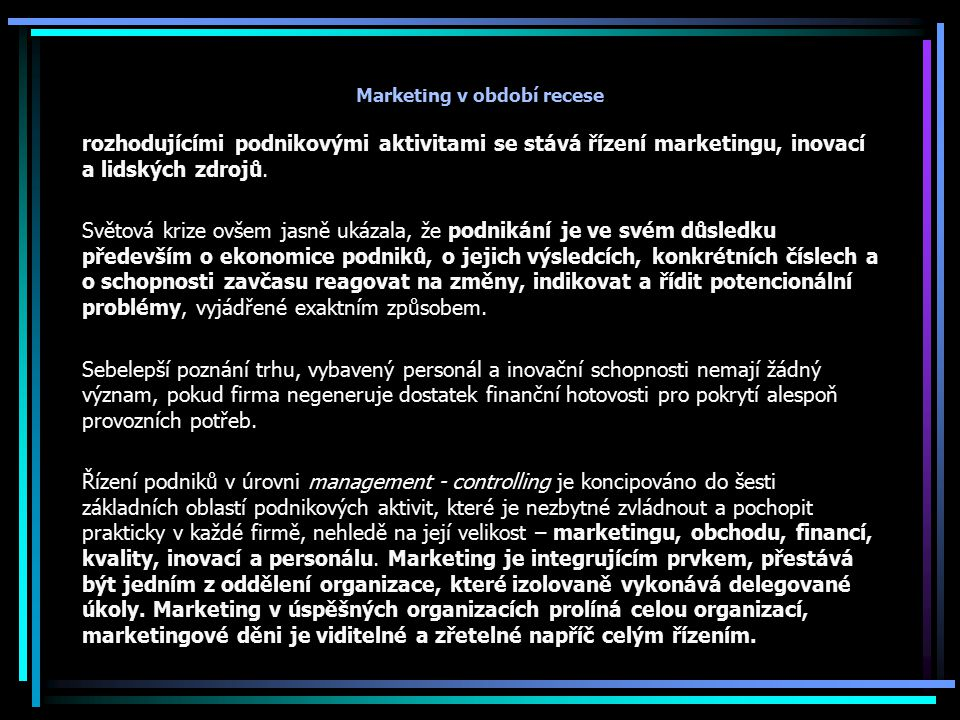 Marketing v období recese