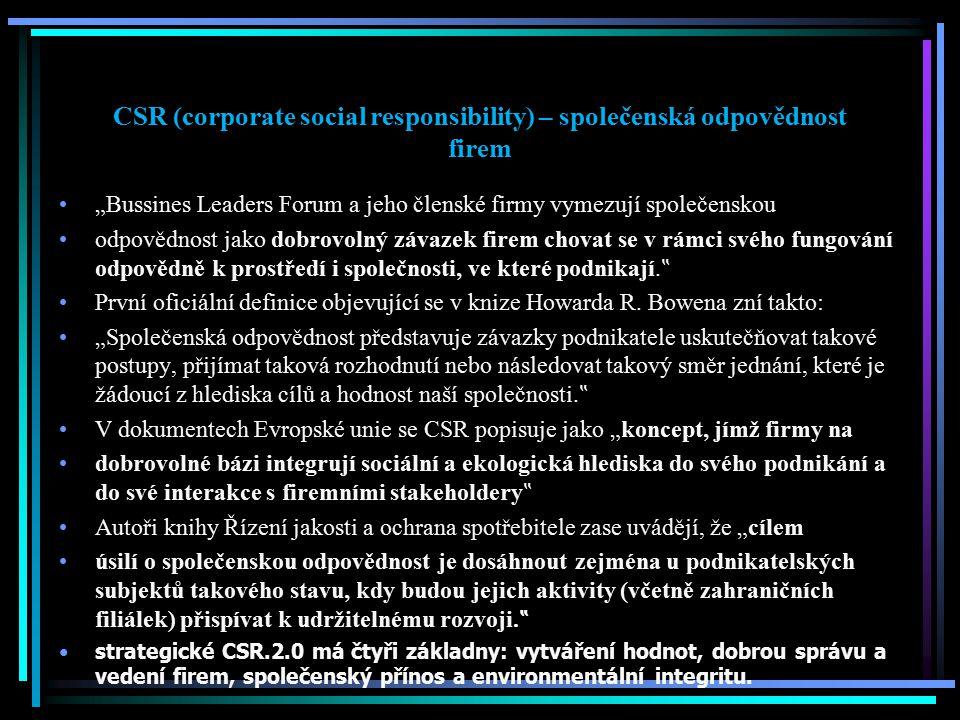 CSR (corporate social responsibility) – společenská odpovědnost firem