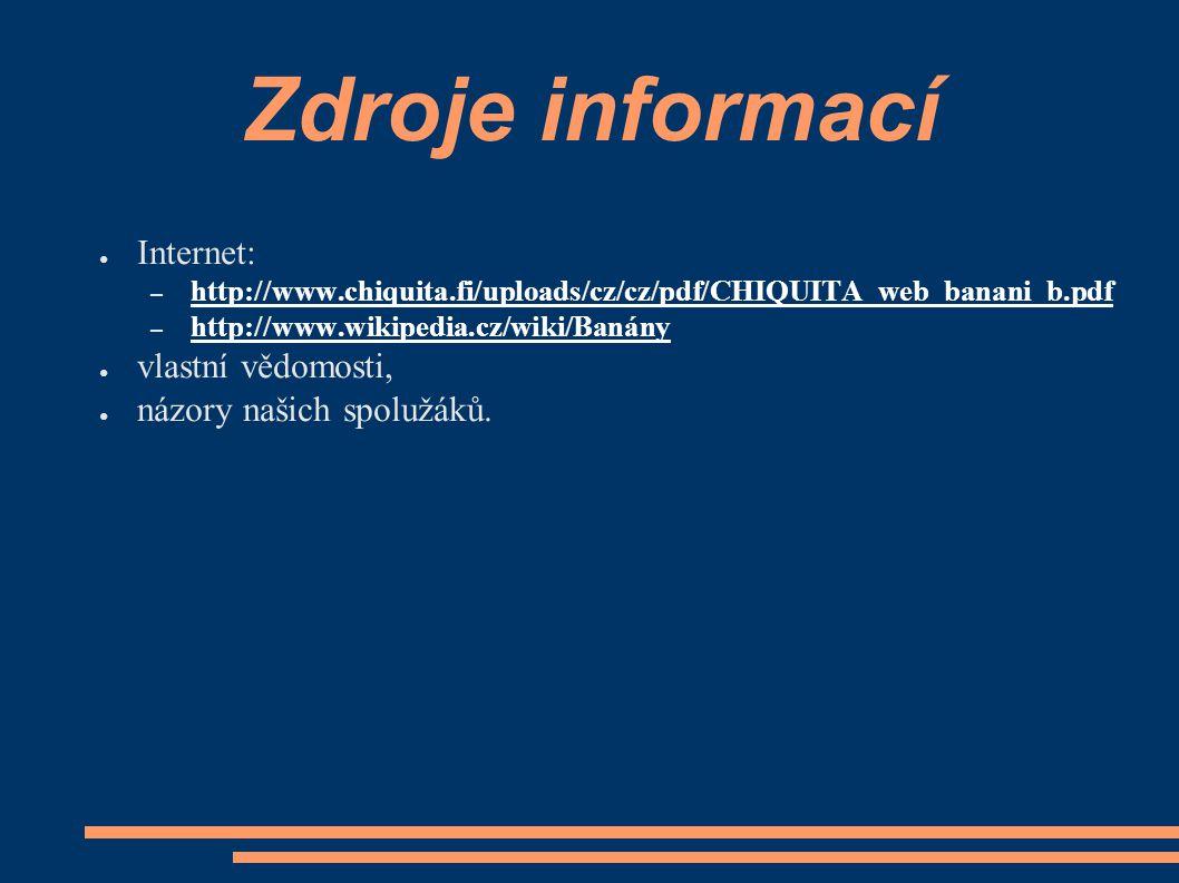 Zdroje informací Internet: vlastní vědomosti, názory našich spolužáků.