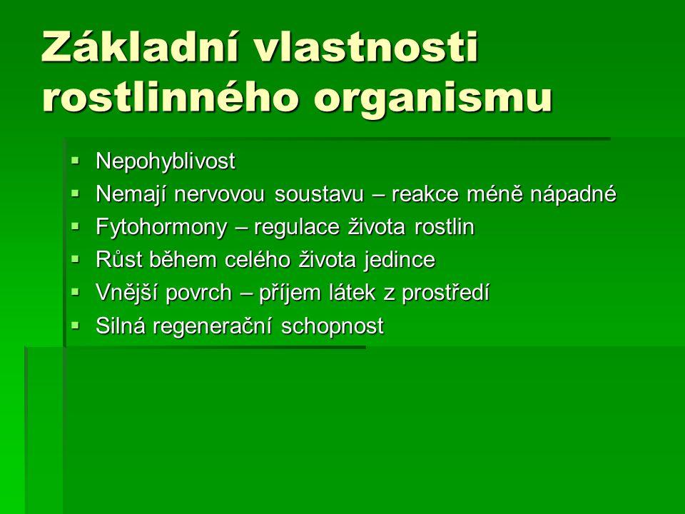Základní vlastnosti rostlinného organismu