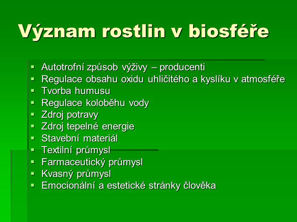 Význam rostlin v biosféře