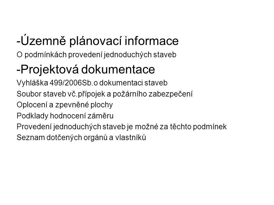 -Územně plánovací informace -Projektová dokumentace