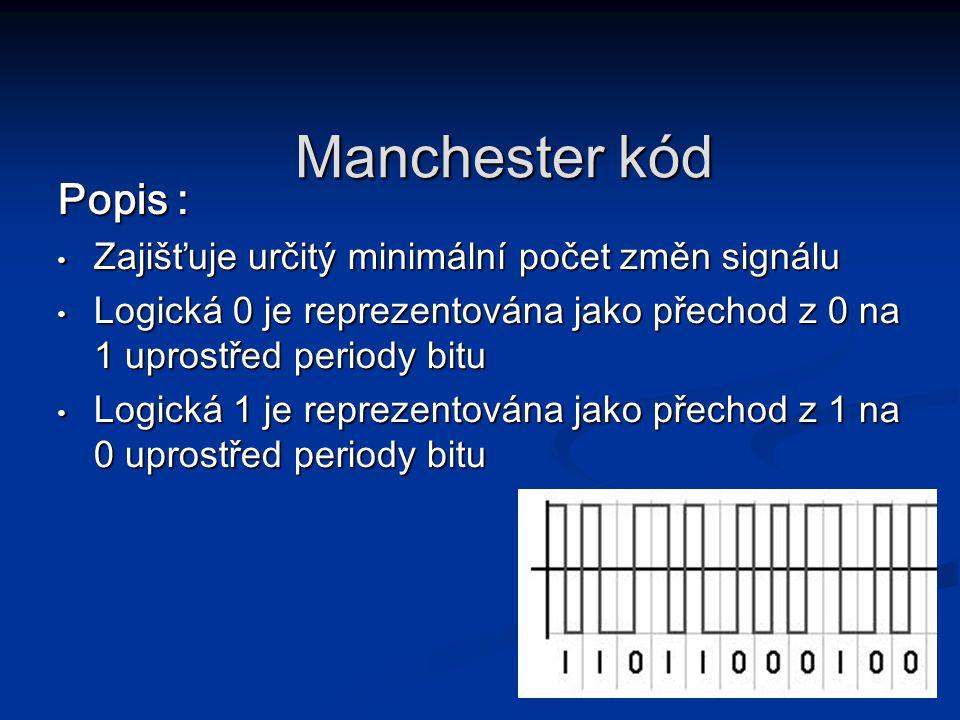 Manchester kód Popis : Zajišťuje určitý minimální počet změn signálu