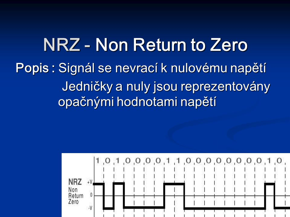 NRZ - Non Return to Zero Popis : Signál se nevrací k nulovému napětí