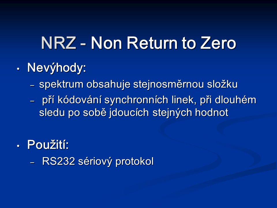 NRZ - Non Return to Zero Nevýhody: Použití: