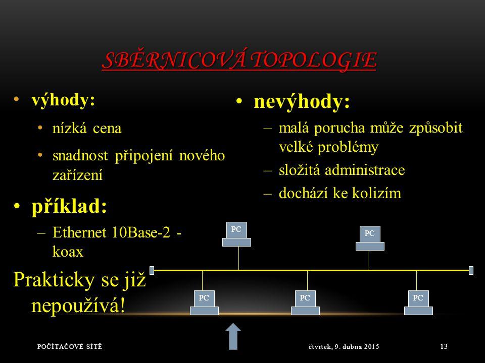 Sběrnicová topologie nevýhody: příklad: Prakticky se již nepoužívá!