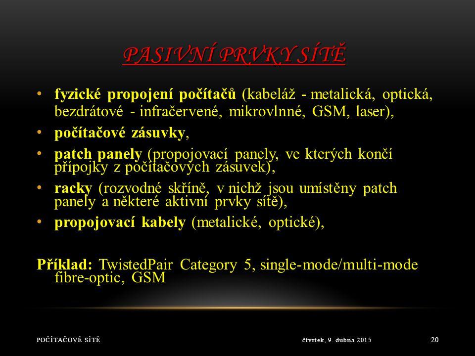 Pasivní prvky sítě fyzické propojení počítačů (kabeláž - metalická, optická, bezdrátové - infračervené, mikrovlnné, GSM, laser),
