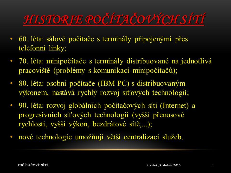 HISTORIE POČÍTAČOVÝCH SÍTÍ