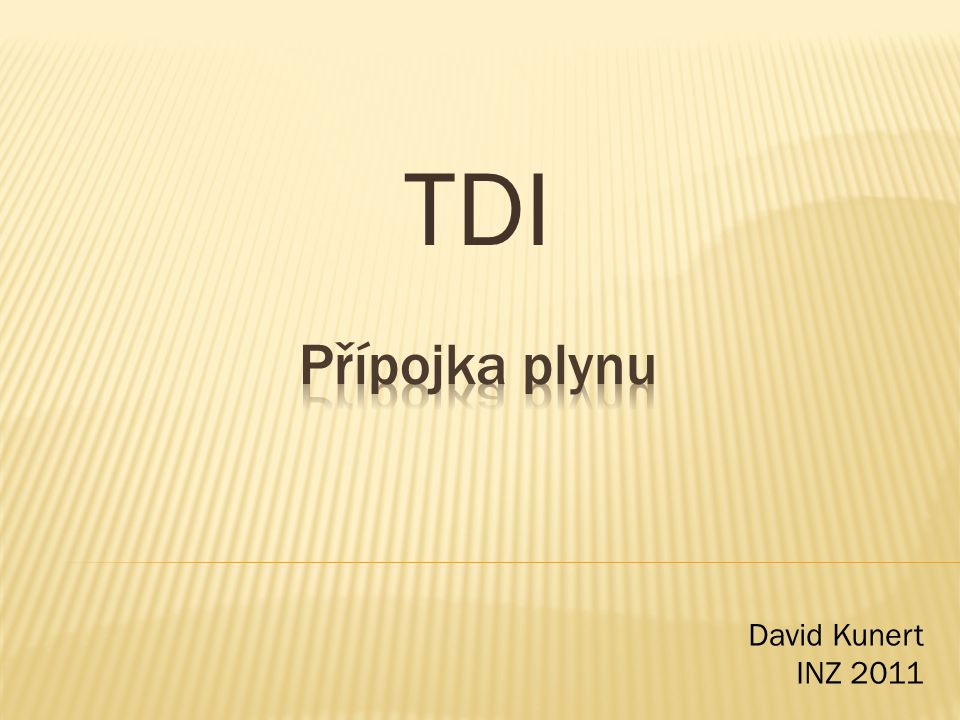TDI Přípojka plynu David Kunert INZ 2011