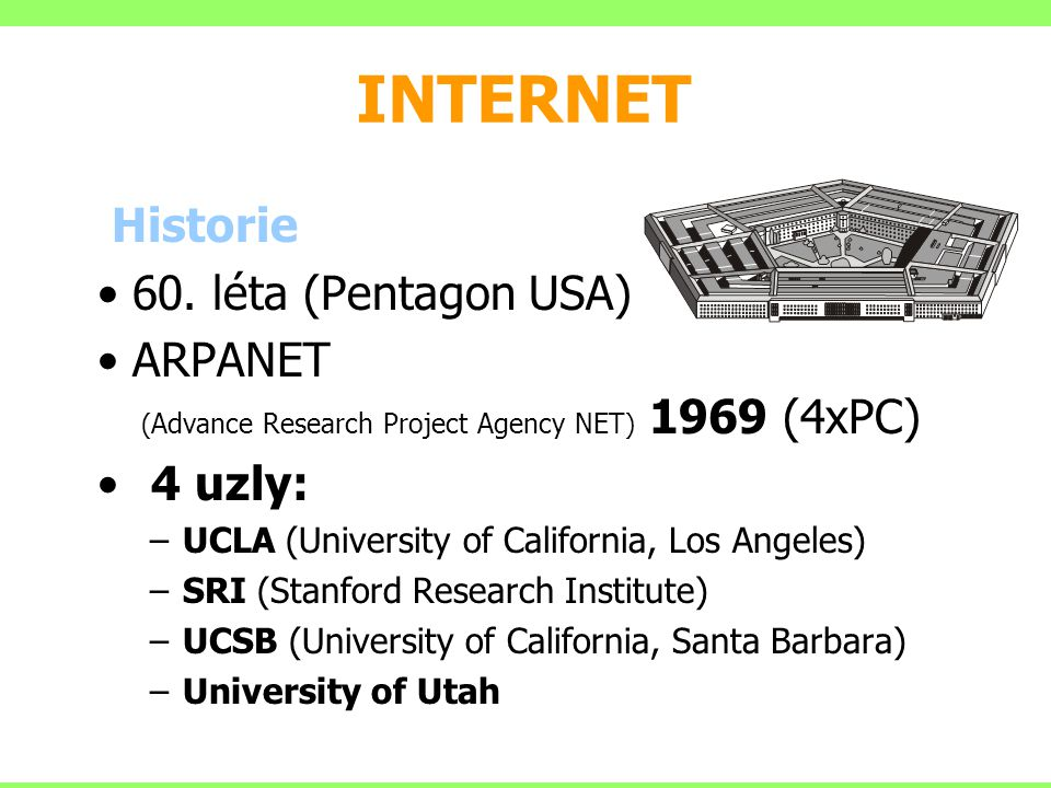 INTERNET Historie 60. léta (Pentagon USA)