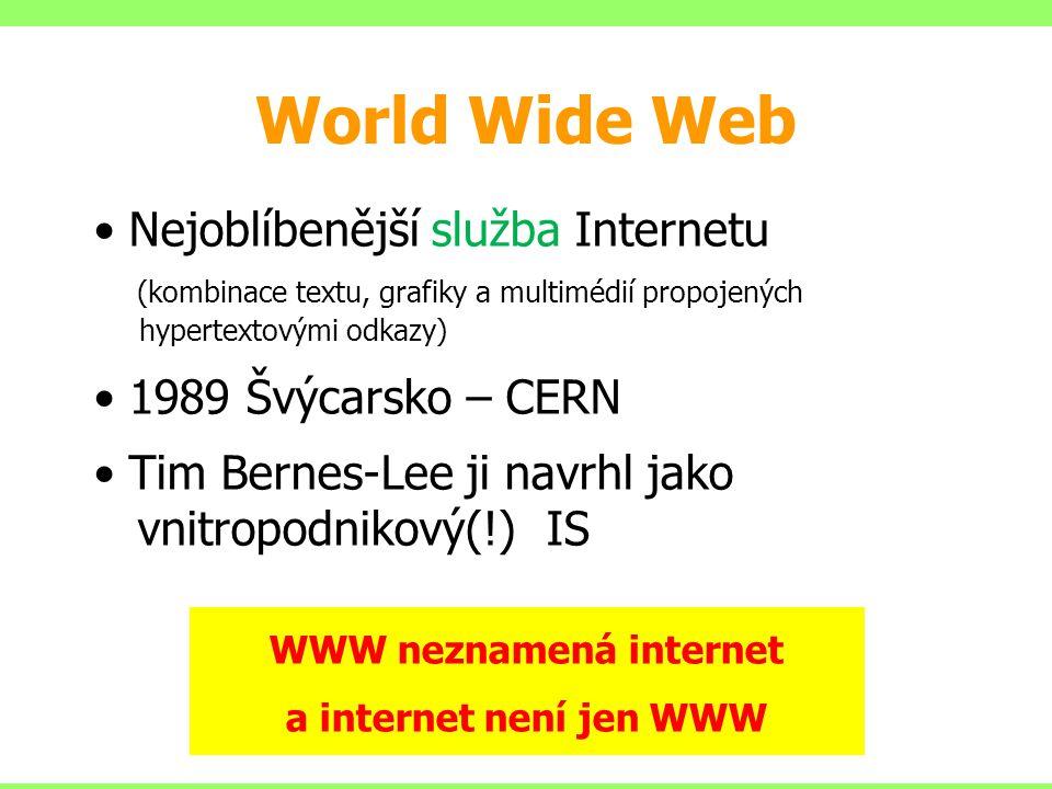 WWW neznamená internet a internet není jen WWW