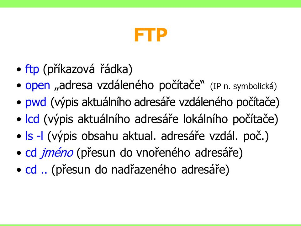 FTP ftp (příkazová řádka)