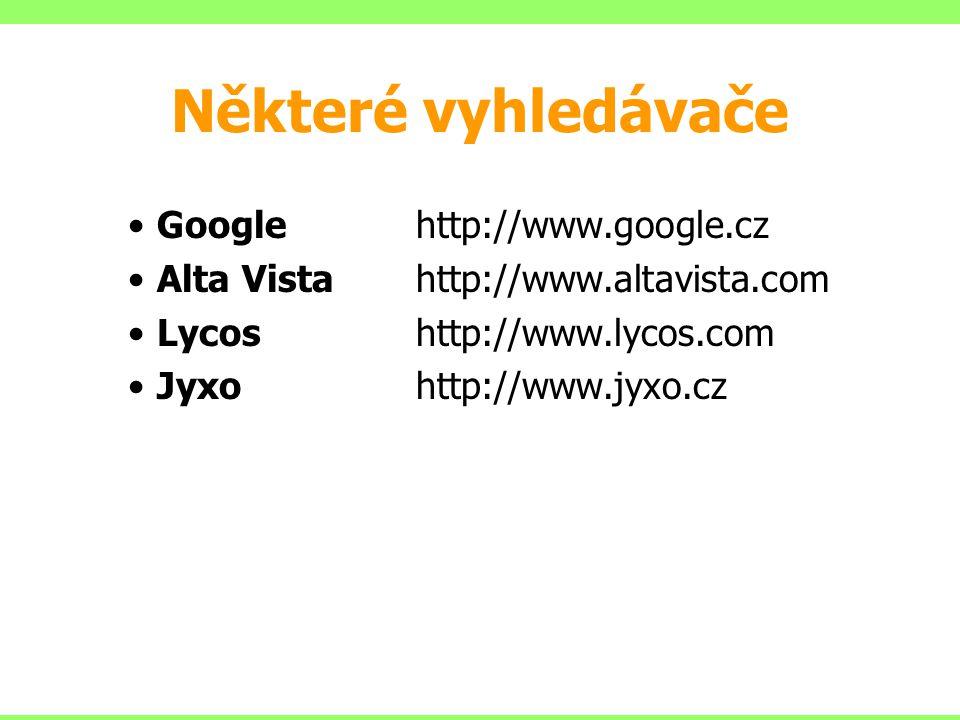 Některé vyhledávače Google http://www.google.cz