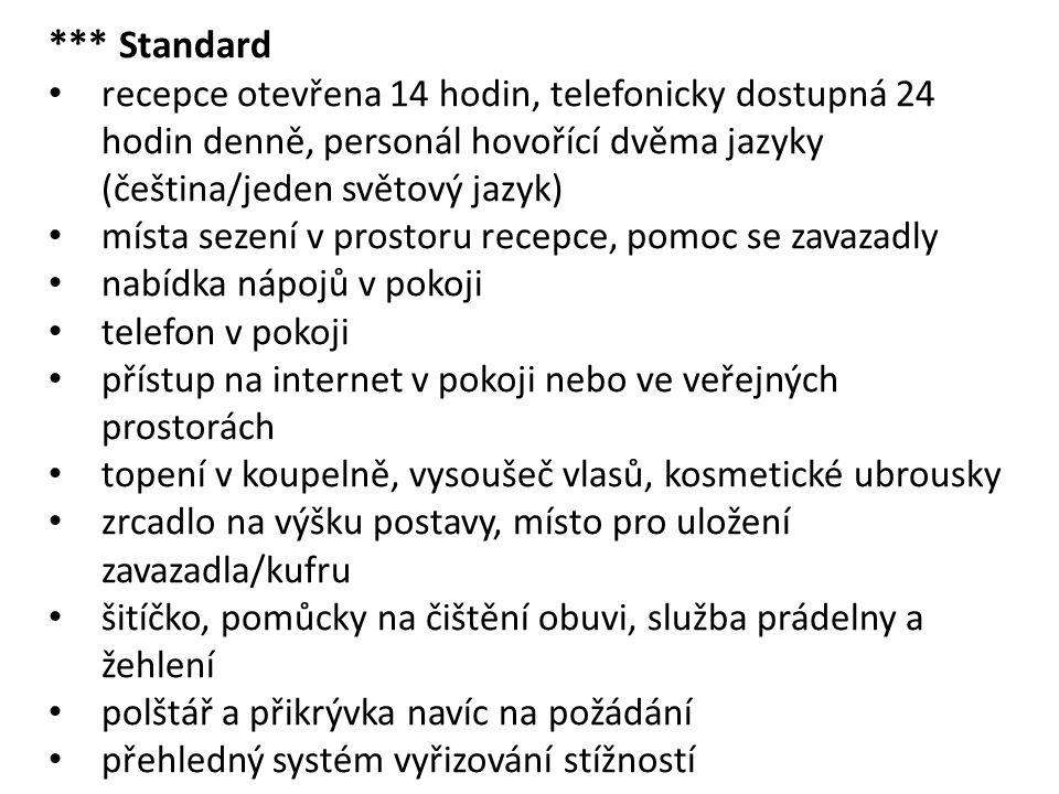 *** Standard recepce otevřena 14 hodin, telefonicky dostupná 24 hodin denně, personál hovořící dvěma jazyky (čeština/jeden světový jazyk)