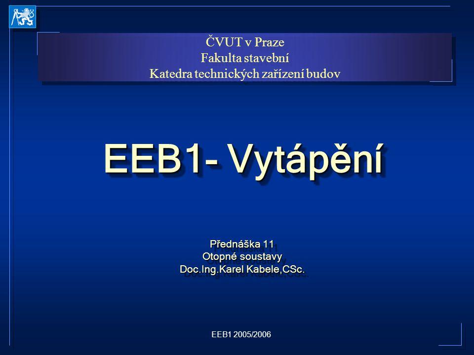 Přednáška 11 Otopné soustavy Doc.Ing.Karel Kabele,CSc.