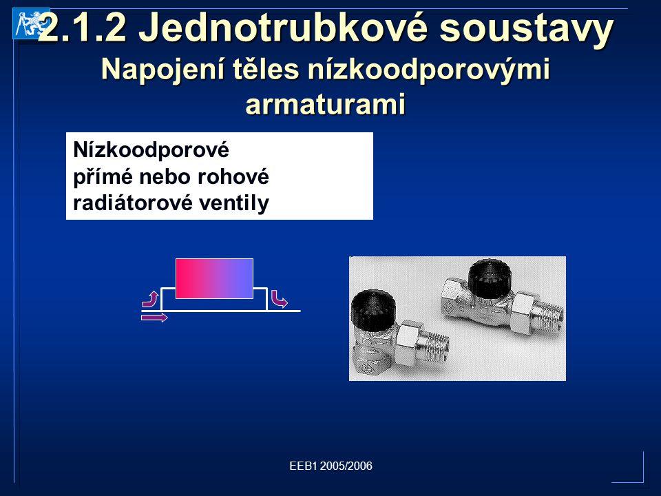 2.1.2 Jednotrubkové soustavy Napojení těles nízkoodporovými armaturami