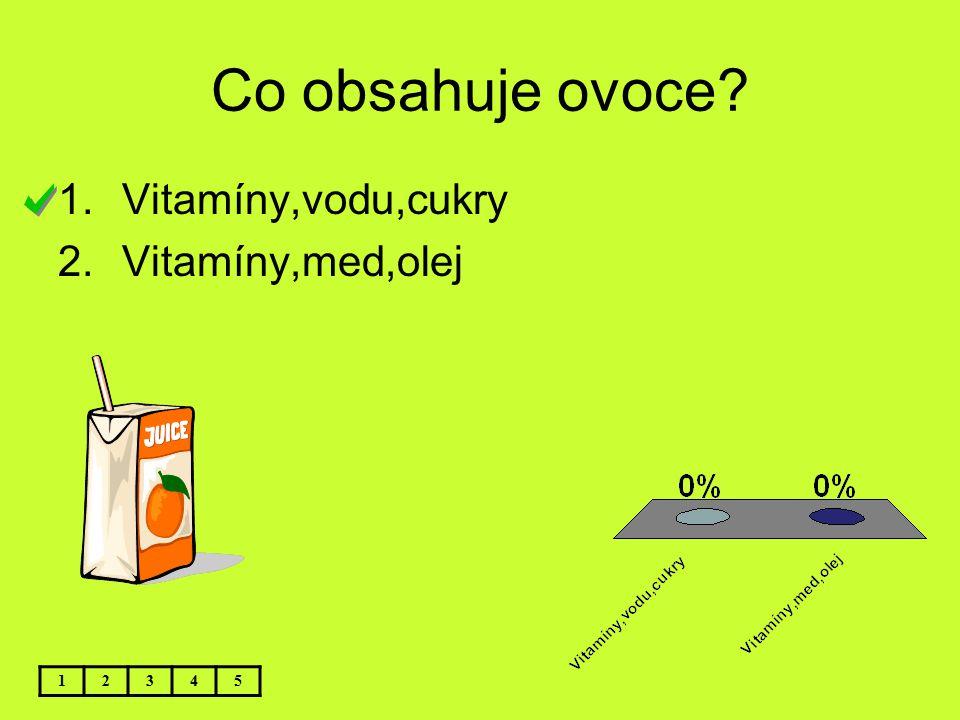 Co obsahuje ovoce Vitamíny,vodu,cukry Vitamíny,med,olej 1 2 3 4 5