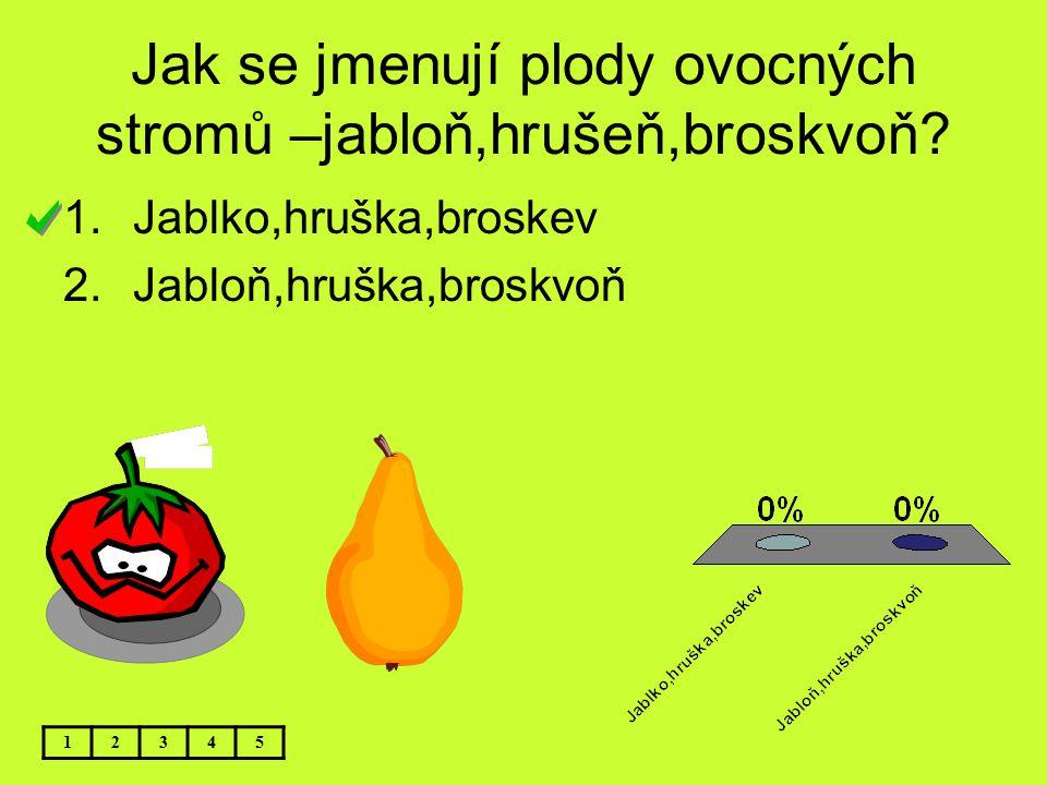 Jak se jmenují plody ovocných stromů –jabloň,hrušeň,broskvoň