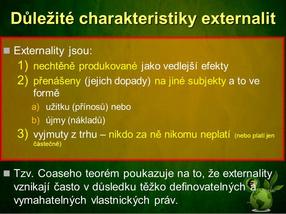 Důležité charakteristiky externalit