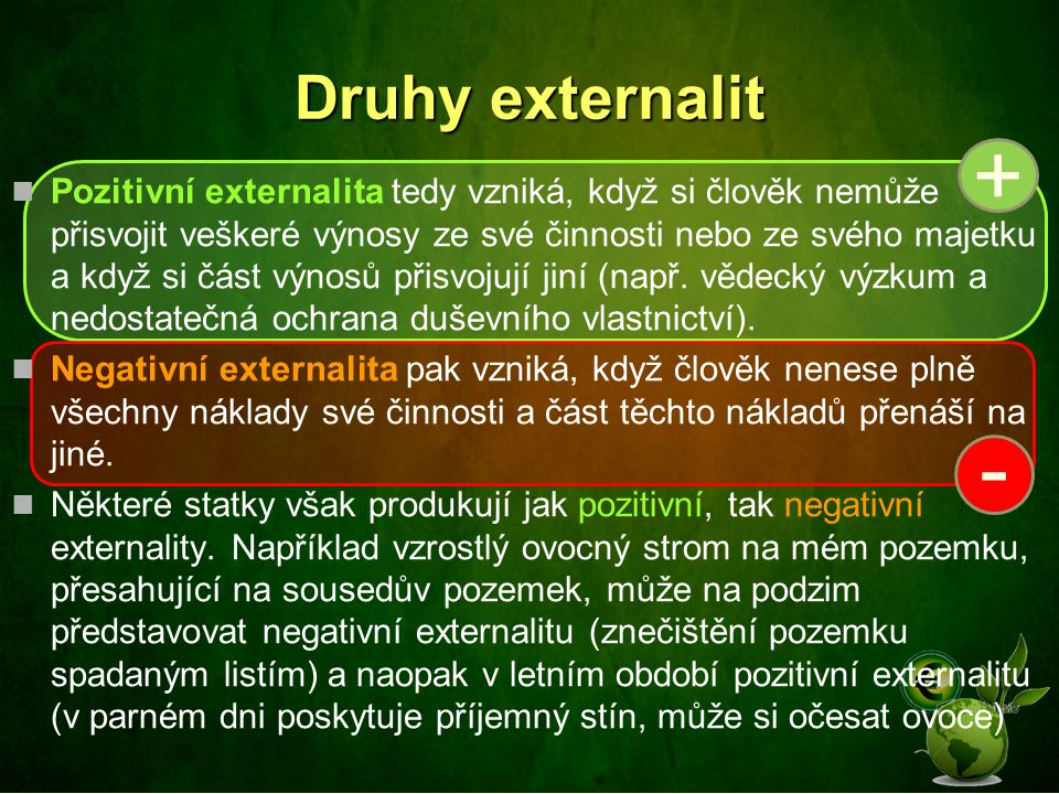 Druhy externalit +