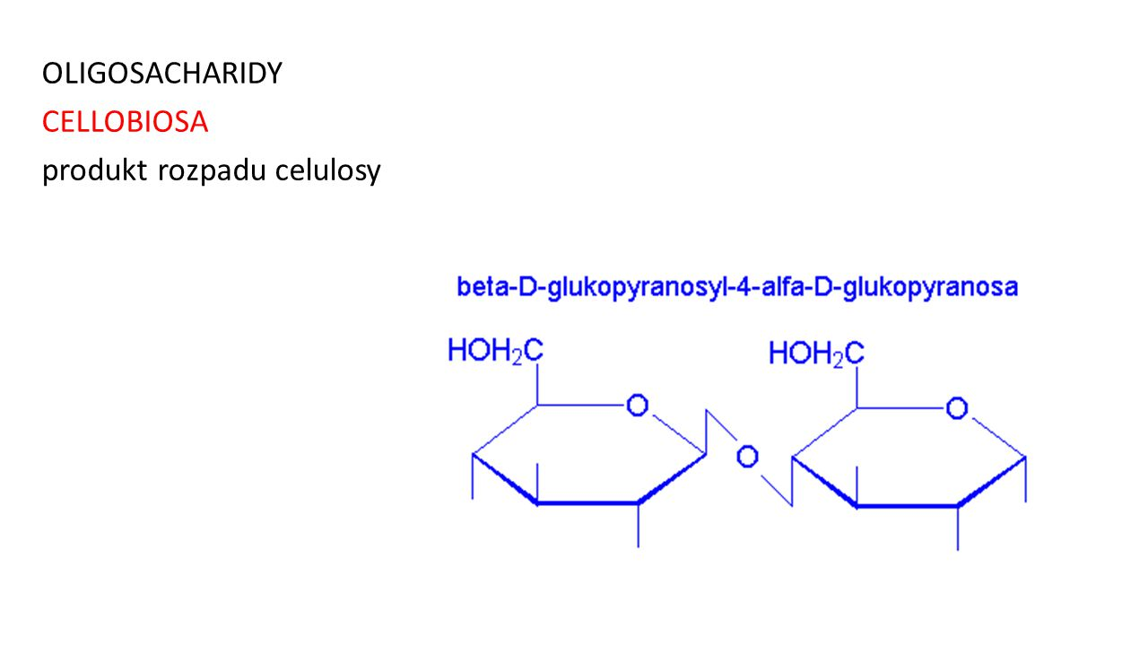 OLIGOSACHARIDY CELLOBIOSA produkt rozpadu celulosy