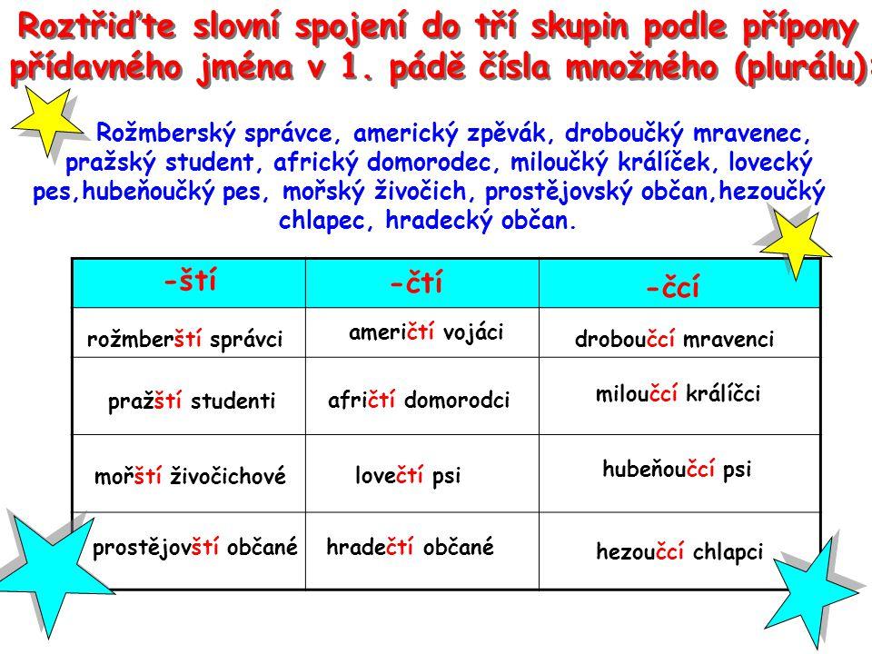 Roztřiďte slovní spojení do tří skupin podle přípony