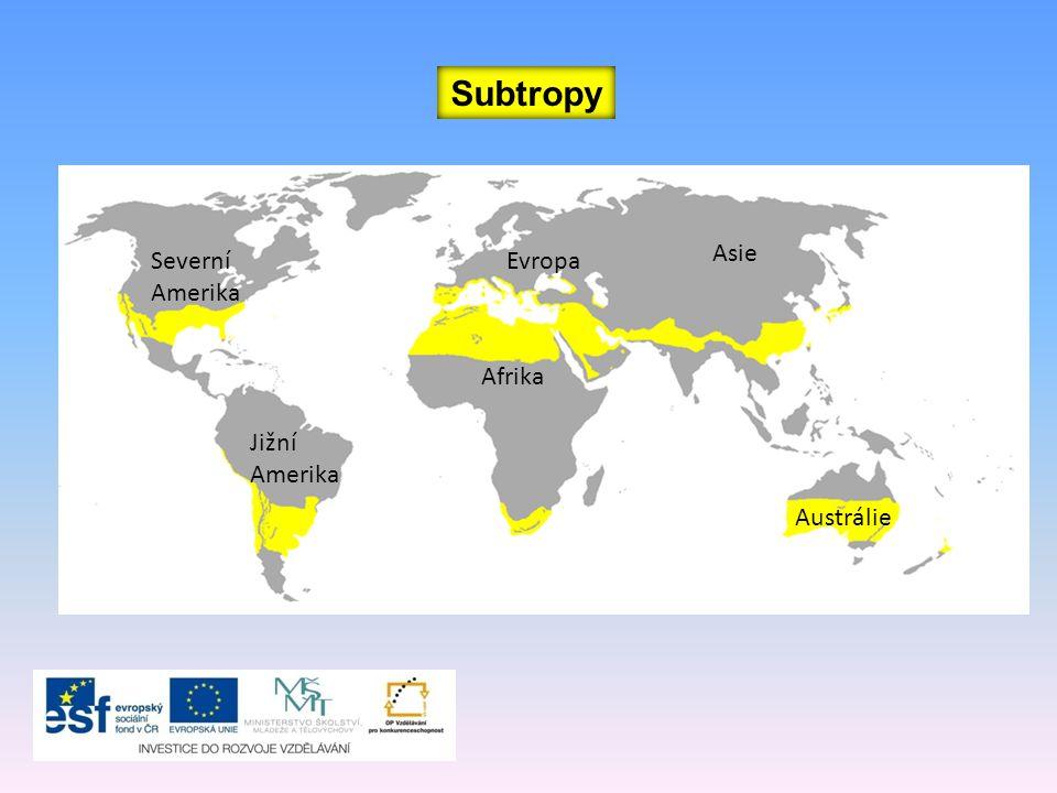 Subtropy Asie Severní Amerika Evropa Afrika Jižní Amerika Austrálie