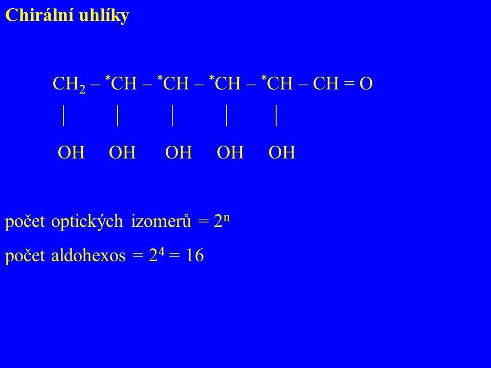 Chirální uhlíky CH2 – *CH – *CH – *CH – *CH – CH = O.      OH OH OH OH OH.