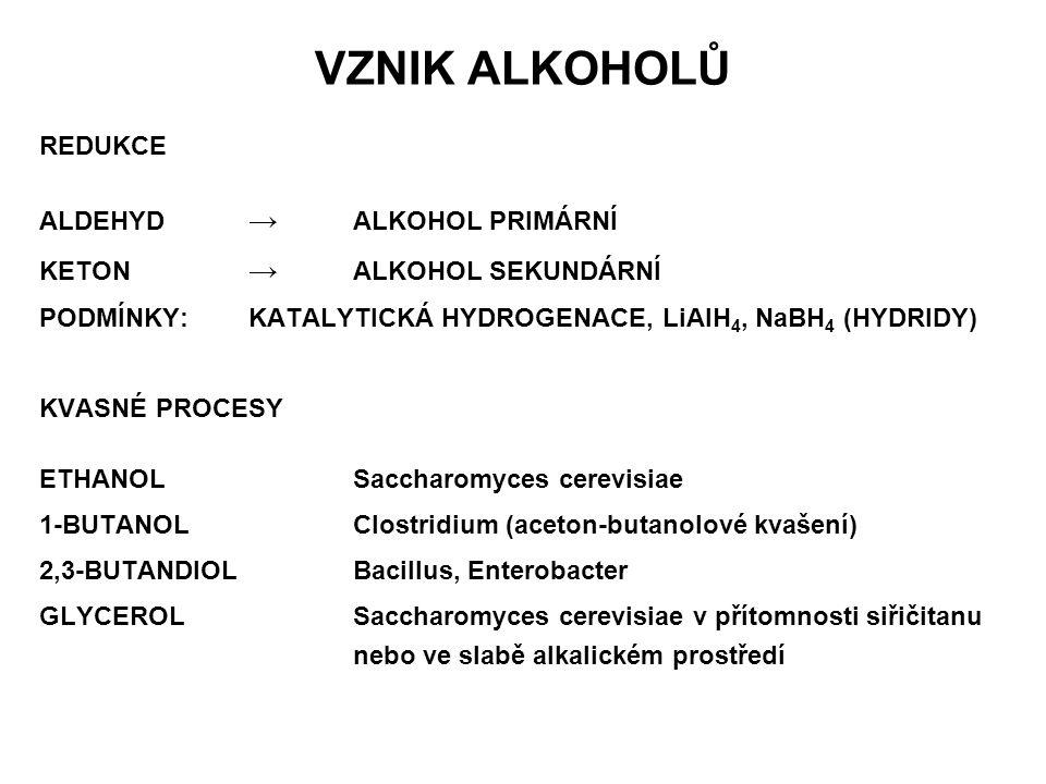 VZNIK ALKOHOLŮ REDUKCE ALDEHYD → ALKOHOL PRIMÁRNÍ