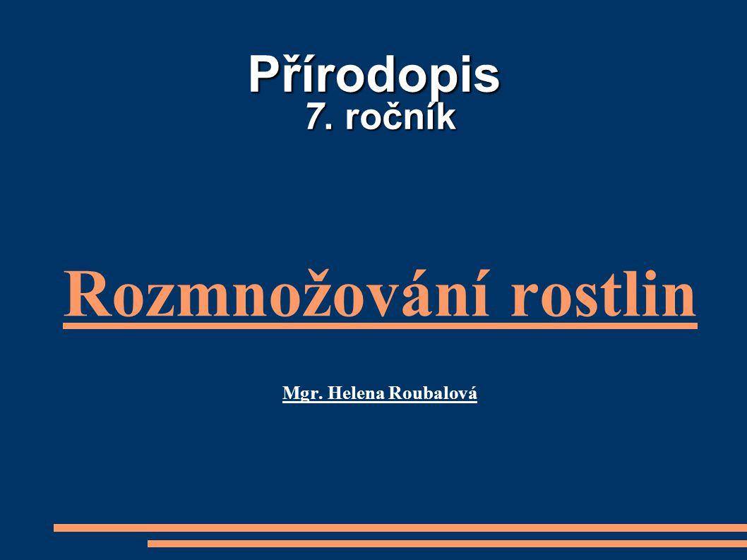 Rozmnožování rostlin Mgr. Helena Roubalová