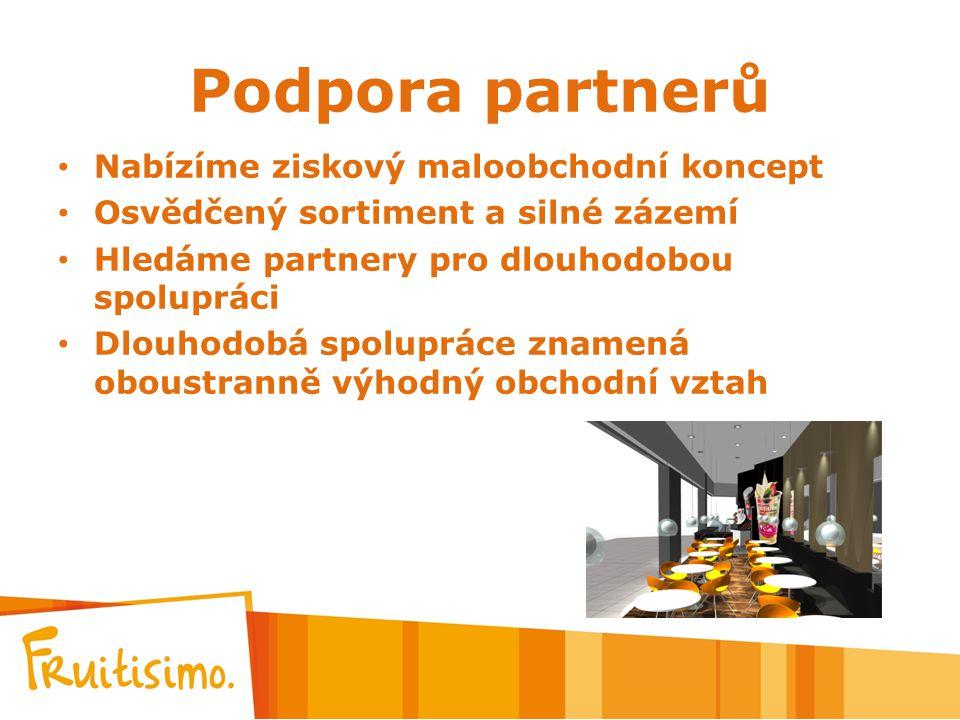 Podpora partnerů Nabízíme ziskový maloobchodní koncept