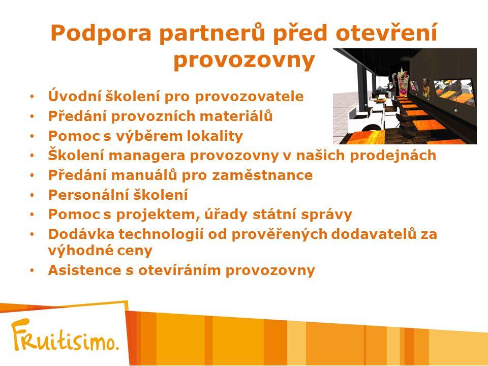Podpora partnerů před otevření provozovny